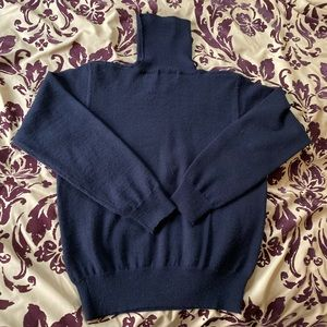 Vintage Merino Wool Turtleneck in Navy Blue, Small